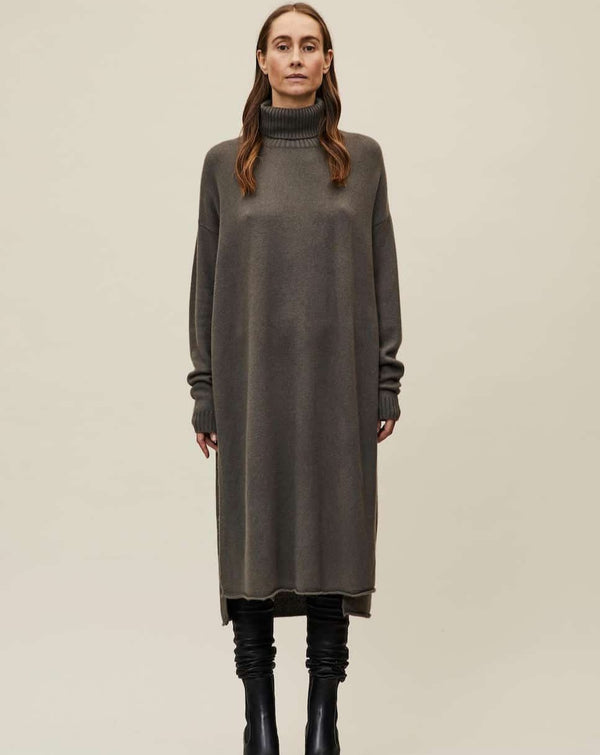 Sogoodtowear dresses S/M / Grey IOWA Turtlenck Dress in Cashmere sustainable fashion ethical fashion