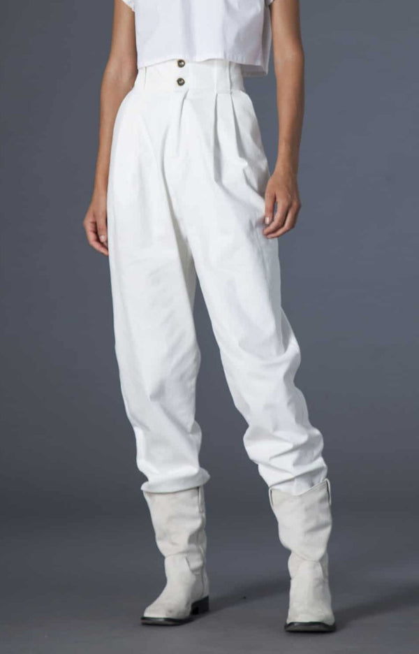 Souldaze Collection Pants & shorts Gilda pants white denim sustainable fashion ethical fashion