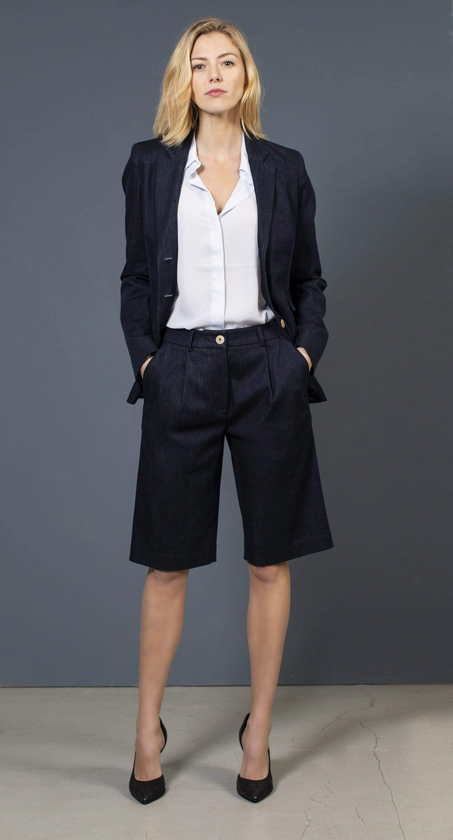 the Blue suit jacket ELLEN Jacket. Organic Cotton. sustainable fashion ethical fashion