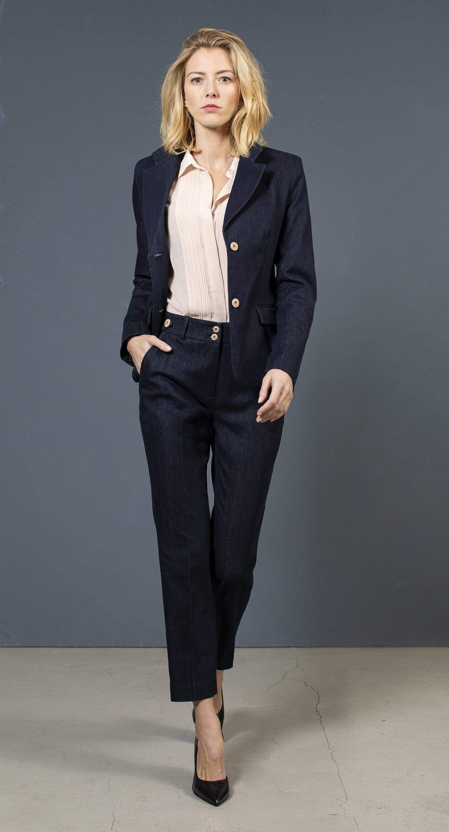 the Blue suit jacket LISA Jacket. Organic Cotton. sustainable fashion ethical fashion