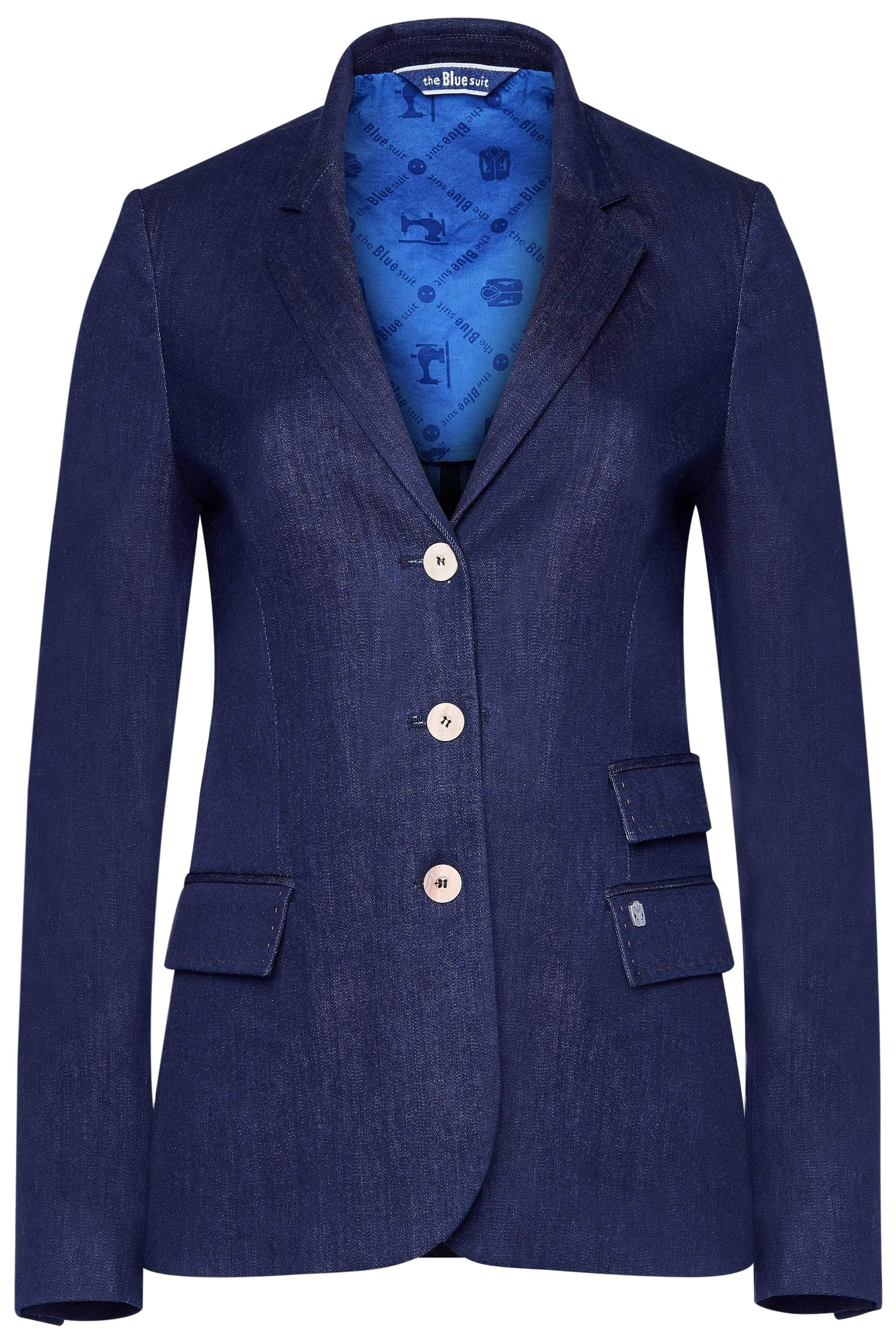 the Blue suit jackets ELLEN Jacket in Organic Cotton. sustainable fashion ethical fashion