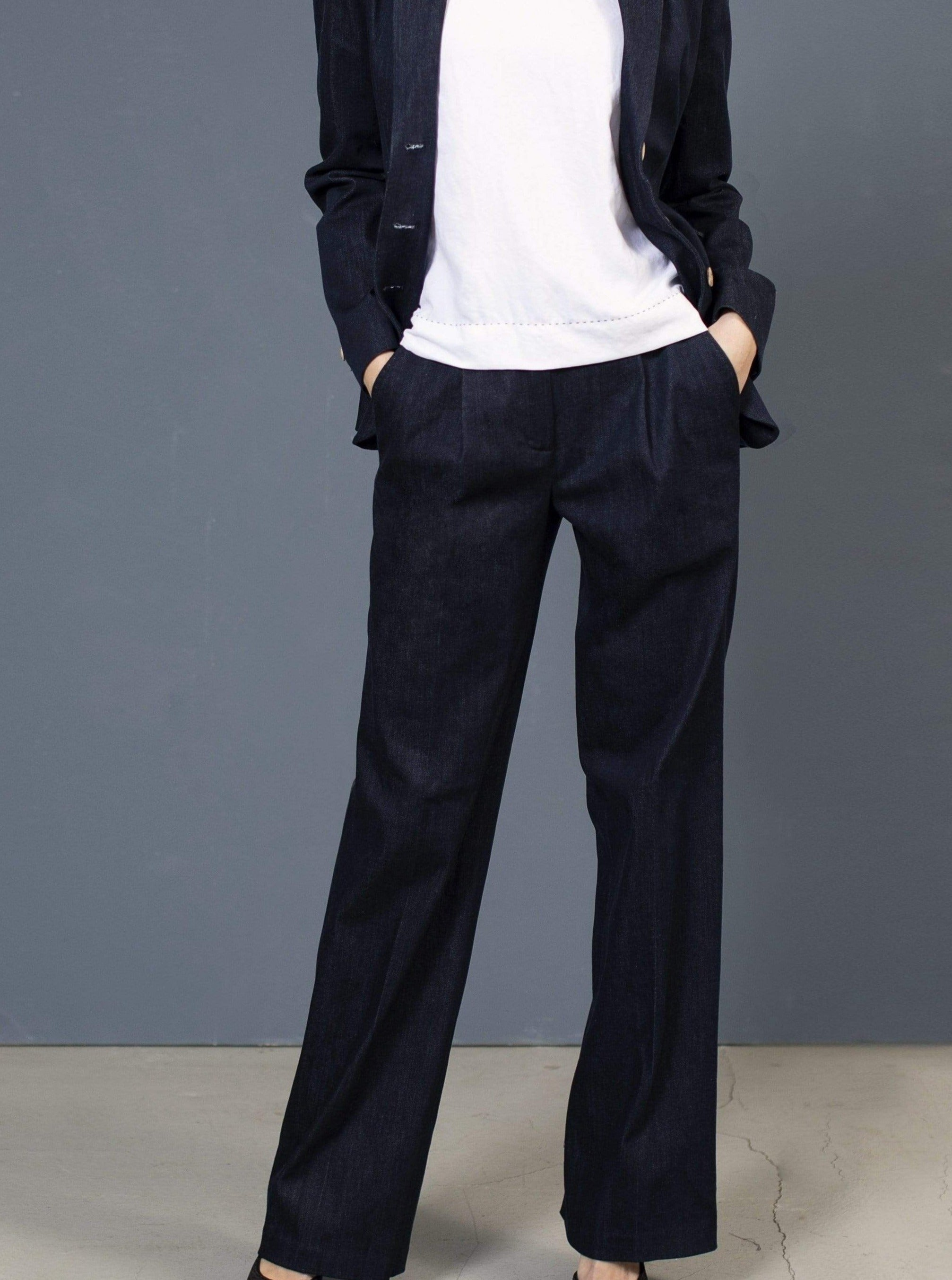 the Blue suit pant AMAL Pants. Organic Cotton. sustainable fashion ethical fashion