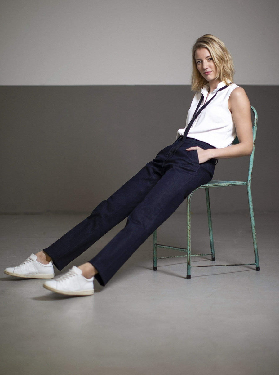 le pantalon de costume bleu EVE Pants. Coton organique. mode durable mode éthique