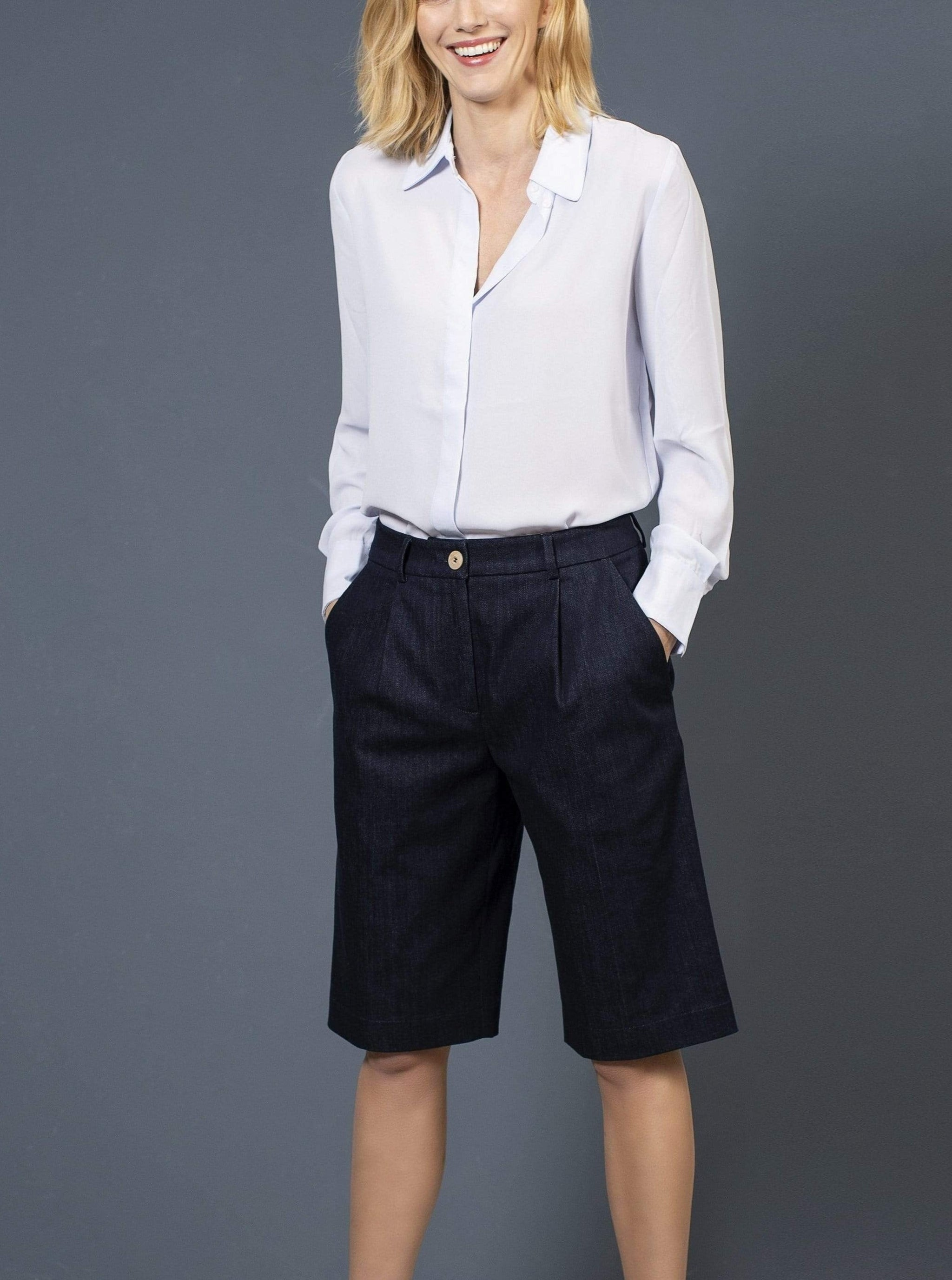 the Blue suit short MICHELLE Bermuda. Organic Cotton. sustainable fashion ethical fashion