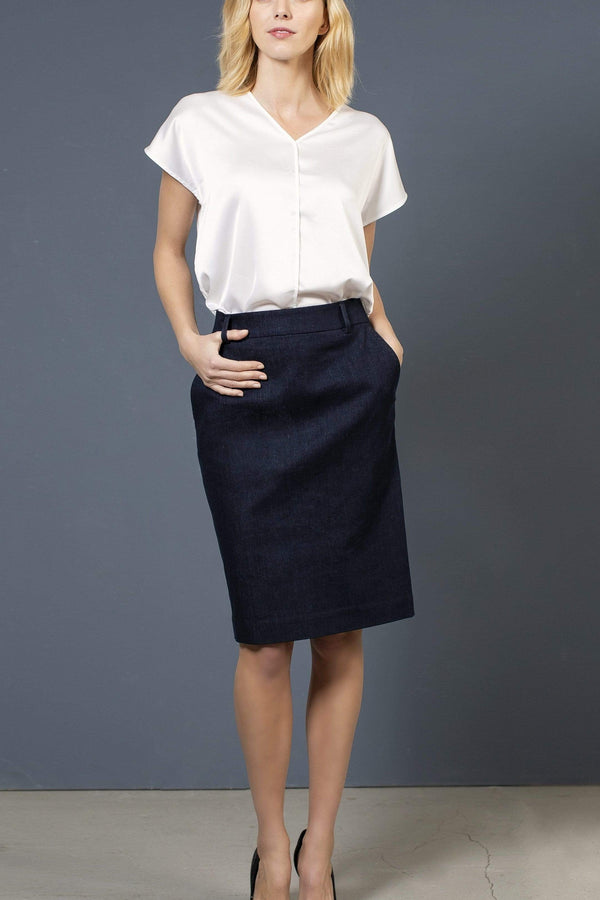 the Blue suit skirt SHERYL Skirt. Organic Cotton. sustainable fashion ethical fashion