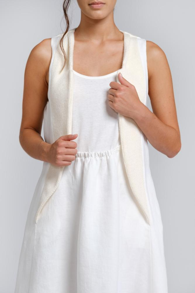 Midi dress in natural hemp, nettle and organic cotton