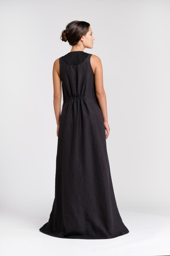 Long dress in natural black hemp and organic cotton