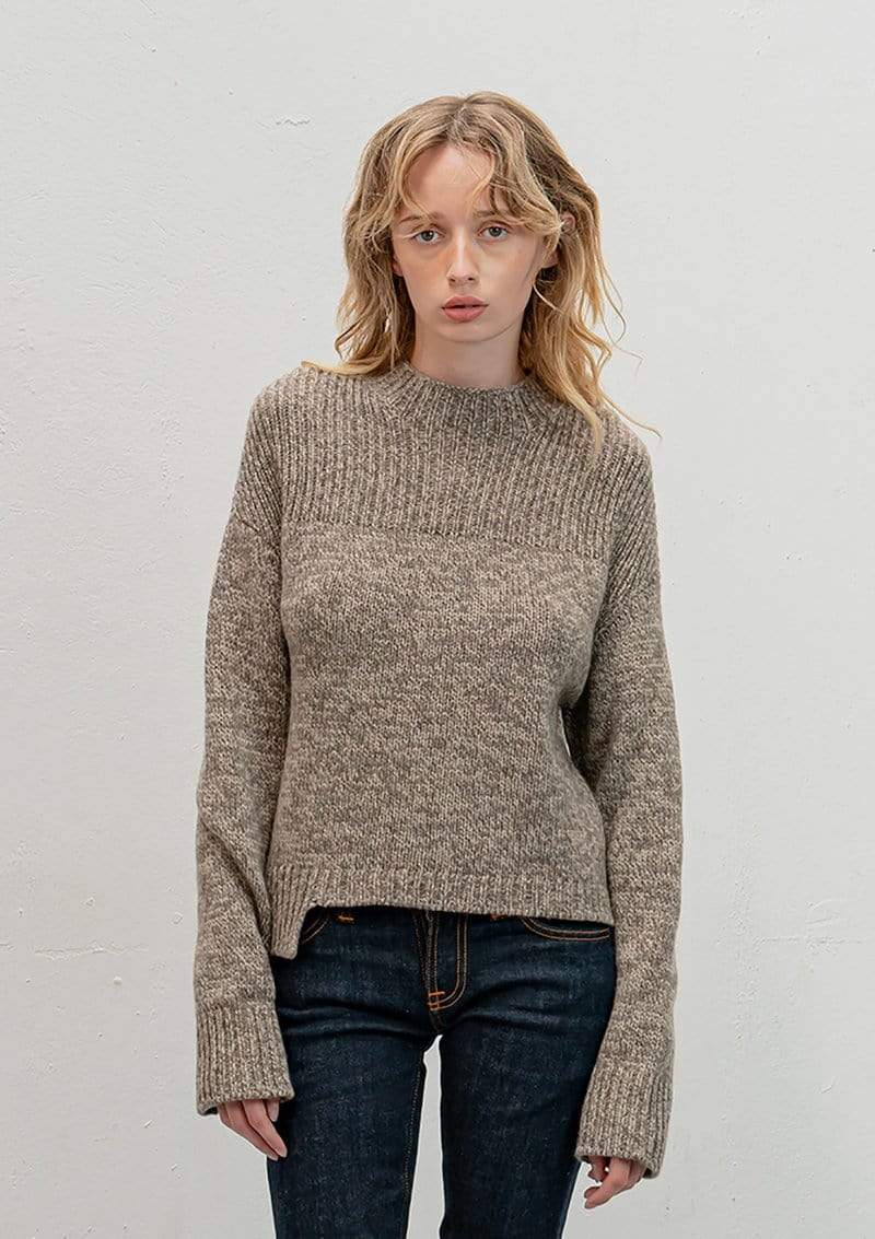 Vitos SAS Sweater 36 / Light Brown Funnel Neck Sweater in Organic Cotton sustainable fashion ethical fashion