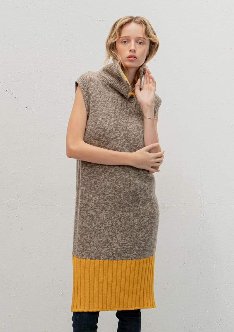 Vitos SAS Sweater 36 / Light Brown Sleeveless Dress-sweater in Organic Cotton sustainable fashion ethical fashion