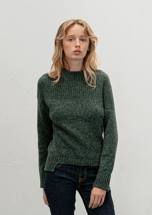 Vitos SAS Sweater 36 / Pine Green Funnel Neck Sweater in Organic Cotton sustainable fashion ethical fashion