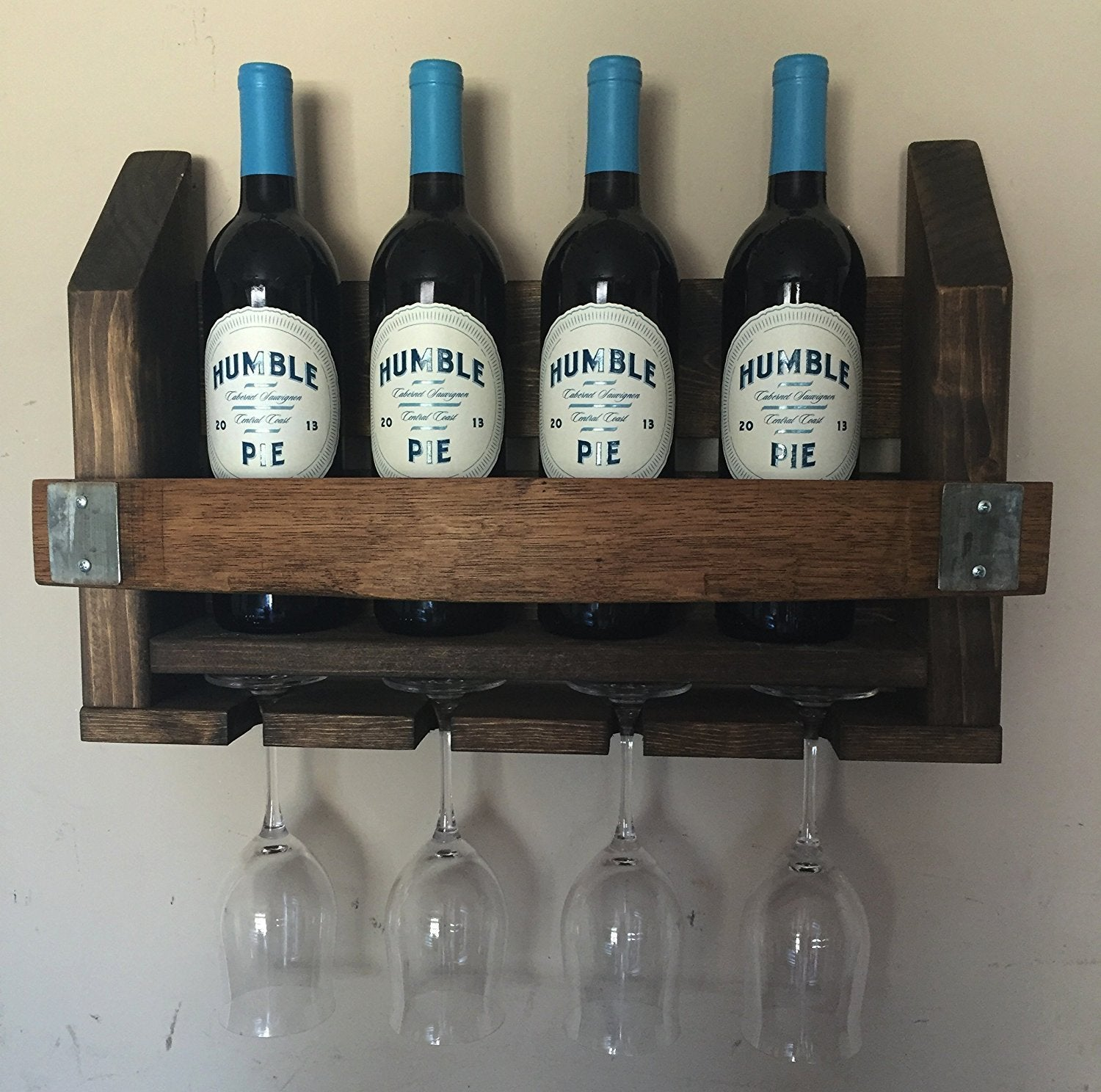 Wine Barrel Wood Wine Rack Long Stem Glass Holder Napa Gift Store