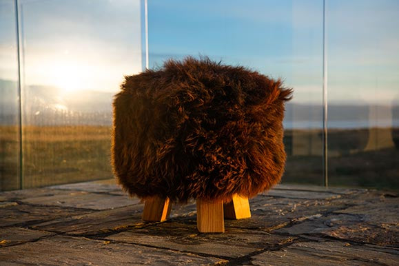 Brown sheepskin stool