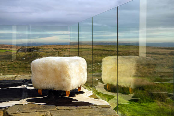 Keel Bay sheepskin footstool