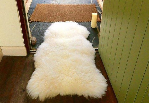 Irish white sheepskin rug