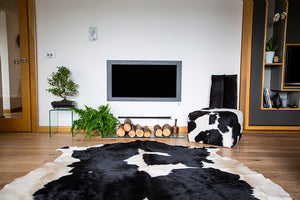 West Kerry Black & White Irish Cowhide Rug