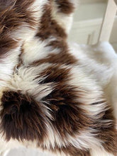 close-up of grey sheepskin rug