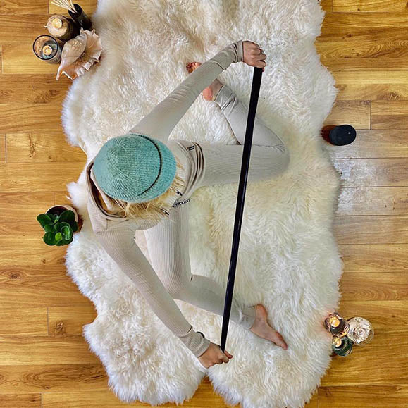 quad sheepskin rug perfect for yoga