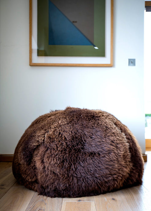 brown sheepskin beanbag