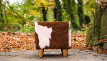 Valentia Brown & White Cowhide Footstool