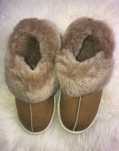 beige slippers sheepskin
