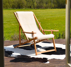deck chair made from sheepskin