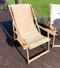 Sun Lounger/Deck Chair in Sheepskin and Cowhide
