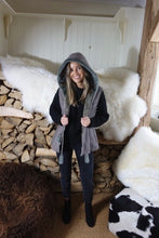 Grey shearling jacket with hood