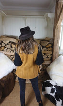 mustard sheepskin gilet rear view