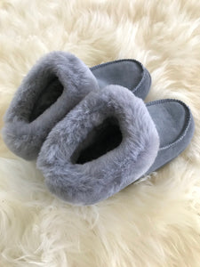 cosy grey sheepskin slippers