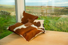 Brown/Red on White Cowhide Cushions