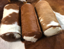 Brown/Red & White Cowhide Bolster Cushion