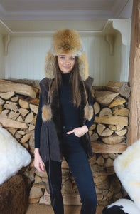 'Naoise' Brown shearling gilet