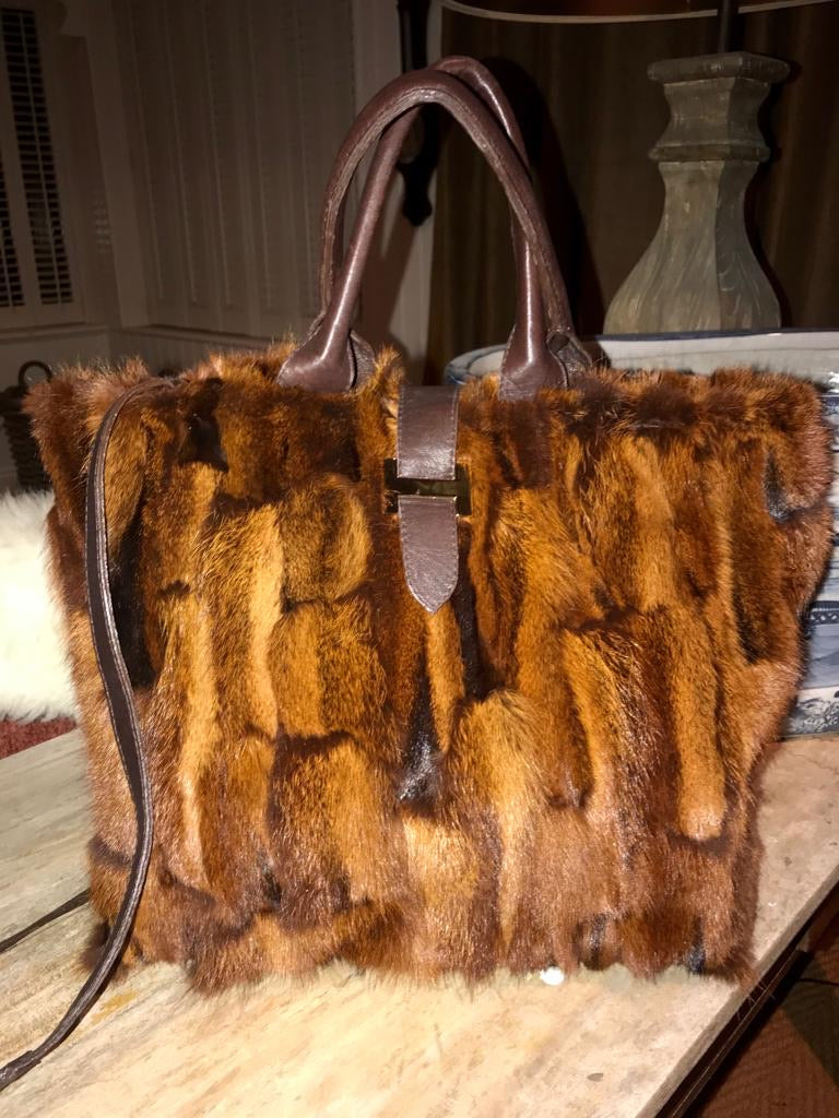 Chocolate brown sheepskin handbag