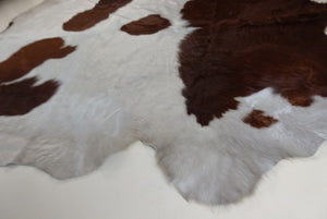 Hide no 53 Very Unique Pearl White & Reddish brown (very large cowhide)