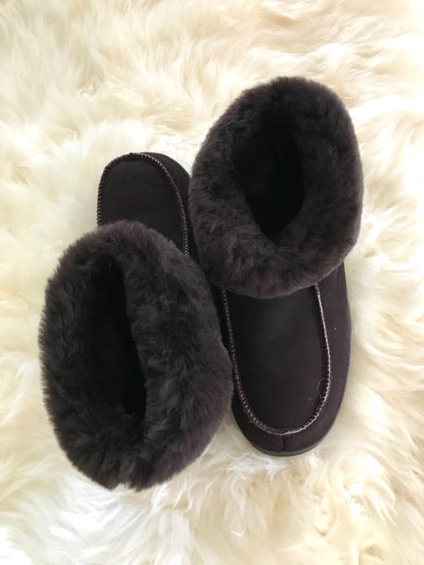 chocolate brown sheepskin slippers