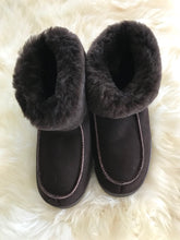 dark brown sheepskin slippers
