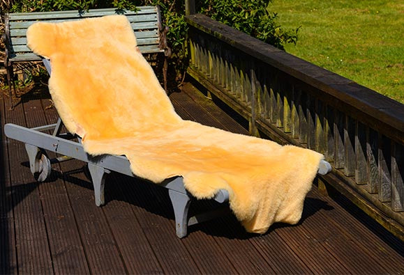medical grade double sheepskin on sunchair