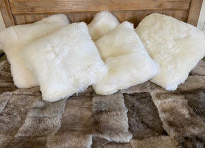 Large White Sheepskin Cushion
