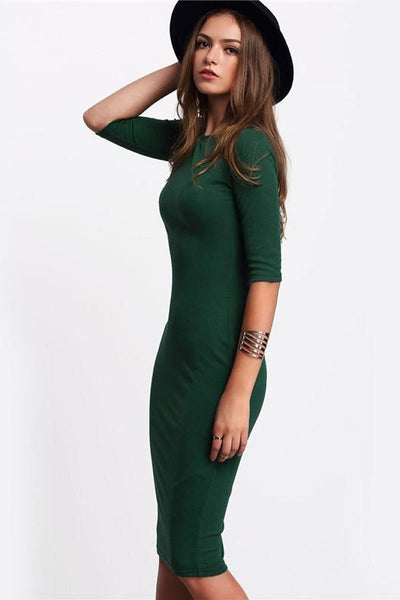 Casual Green Round Neck Half Sleeve Midi Dress