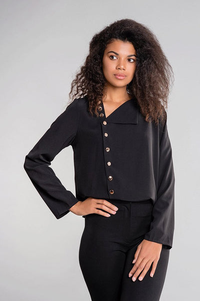 Button Front Roll Sleeve Blouse