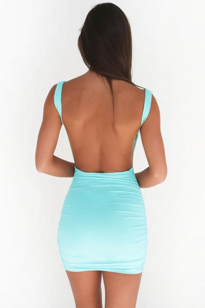 Simple Backless Bodycon Mini Dress