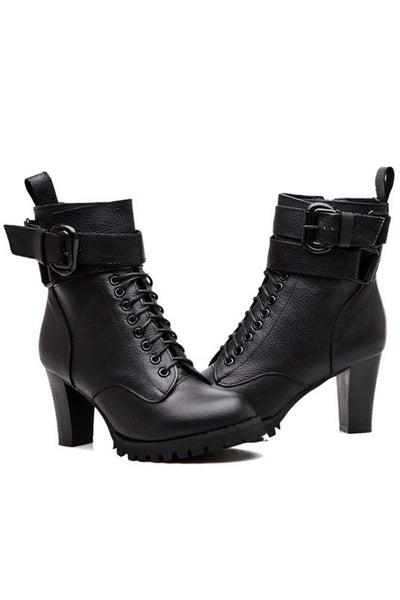 Chunky Lace Up Strapped Ankle Boots