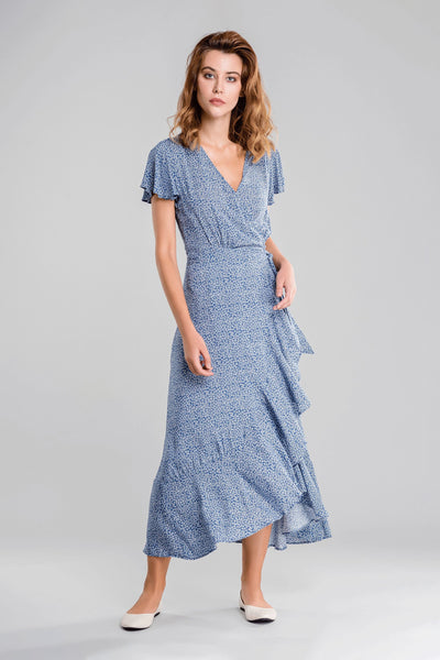 Deep V Wavy Wrap Summer Dress