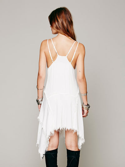 Mini Dress with Asymmetrical Fringes