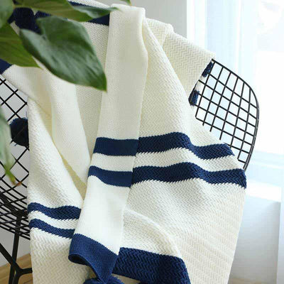 Jonado Bold Stripe Pom Pom Throw