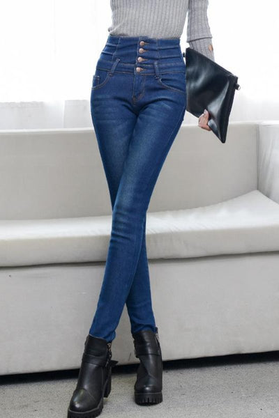 Fleece Lined Button Up High Waist Thermal Jeans
