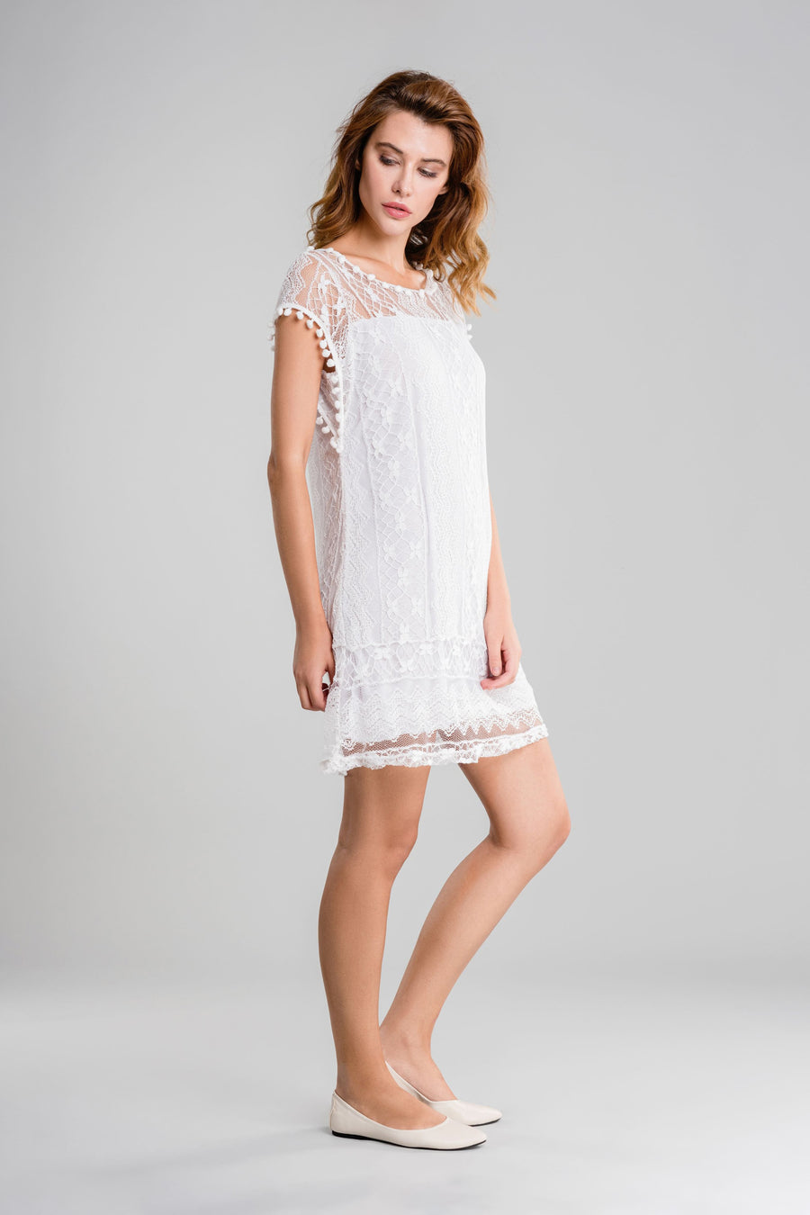 Pom Pom Lace Mini Dress