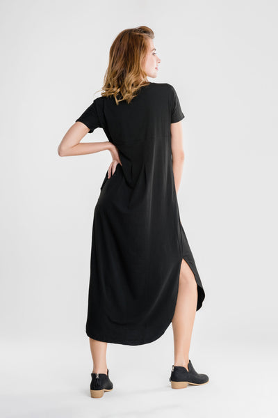 Side Slit Maxi Dress with Pockets