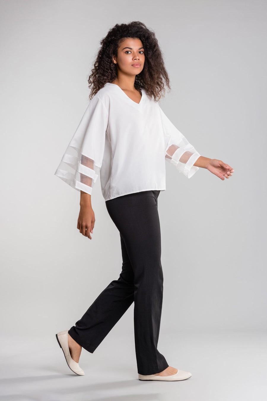 Mesh Panel Sleeve Loose Fit Top