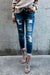 Cuffed Frayed Skinny Denim